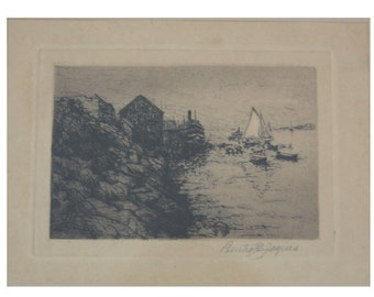 Bertha E. Clauson Jaques Original Signed Lake Etching epsteam
