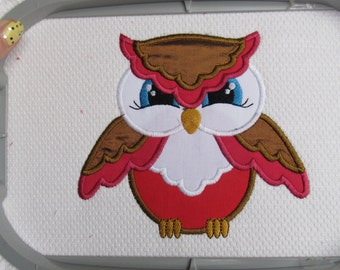 OWL 2- machine embroidery  fill stitch and  appliqué designs 4, 5, 6 and 7 inches INSTANT DOWNLOAD