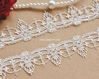 Exquisite Off White Venice lace Trim Aulic Palace Lace Necklace Supplies 1.96 Inches Wide 2 Yards
