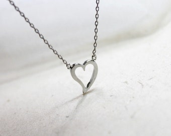 Tiny silver Heart Necklace- S2309-1
