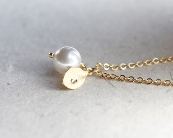 White Pearl with personalized initial gold leaf Necklace - S2313-2