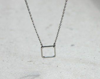 Ssimple Modern jewelry - silver square ring necklace - 2316-1