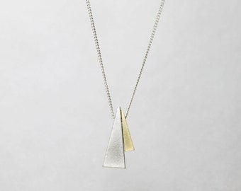 Two Triangle necklace on Black/Silver chain  - S2236 -2