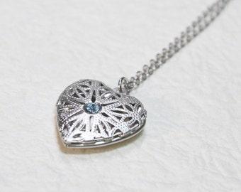 Filigree silver Heart Locket - S2293-1