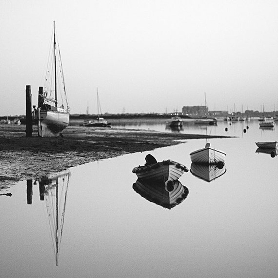 Mersea, Boats, Harbour, Travel, black and White, Wall Art, Home Decor, Fine Art Photography Image