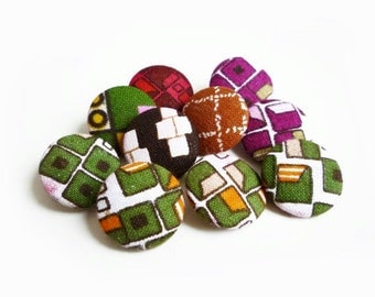 Vintage Colorful Geometric Fabric Buttons, Covered Buttons (10 Pcs)