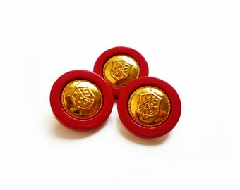 3 Vintage Buttons, Red & Gold French Coat of Arms Buttons