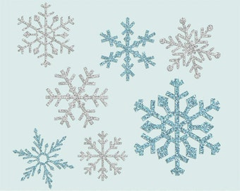 Glitter Snowflake clipart, glitter snowflake clip art images, commercial use- Instant Download