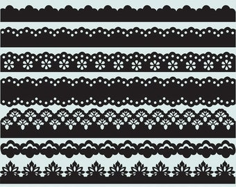 Decorative borders clip art images, royalty-free (lace)- Instant Download