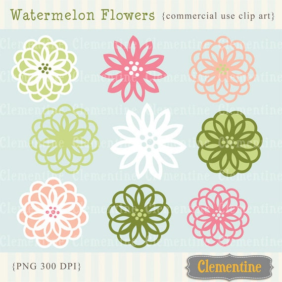 Flower clip art images, royalty free images - watermelon- Instant Download