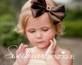 Large Dark Chocolate Brown Sweet Satin Bow with Square Crystal Button Center - Baby Headband, Girls Headband or Hair Clip, Photography Prop