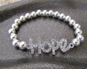 Sterling Silver Hope Rhinestone Crystal Friendship Bracelet