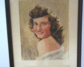 Vintage 1940s Portrait Painting: Red-Haired Woman