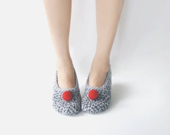 Grey Crochet Slippers with Red Felted Pompoms