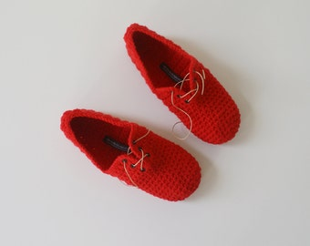 Lace Up Slippers - Unisex crochet style slippers in Red