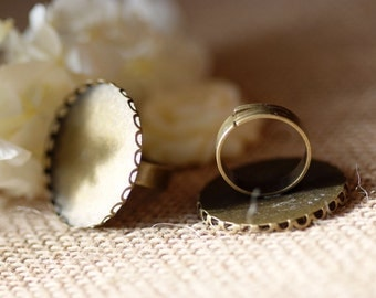 10 pcs Antiqued bronze  Color Metal Adjustable Ring Base  with 30mm lace edge Setting