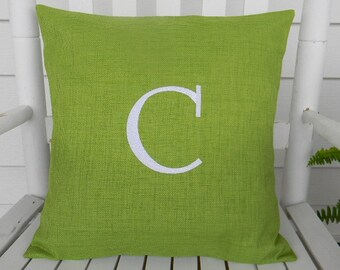 Initial Outdoor Pillow Cover in Green  | Personalized | Alphabet | Embroidered | Monogrammed | Wedding