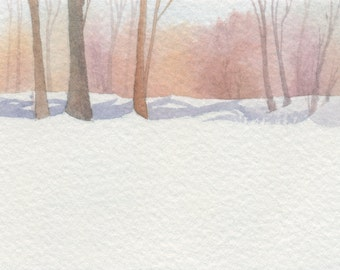 Snow day - ACEO Original watercolor painting