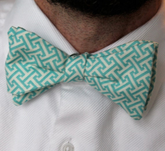 Men's Bow Tie in Turquoise Blue Greek Key- self tying - freestyle bow tie, pre-tied adjustable strap, or clip on