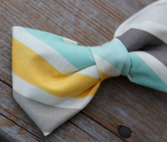 Men's BowTie in Turquoise gray and yellow stripe- clip on, pre-tied adjustable strap or self tying