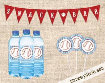 Printable Baseball Party Package - Snack Bar banner, Cupcake Topper and Water Bottle Label - Instant Download