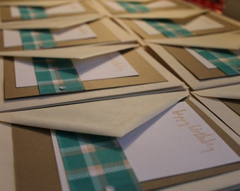 Green and Tan Plaid Birthday Cards - Set of 12