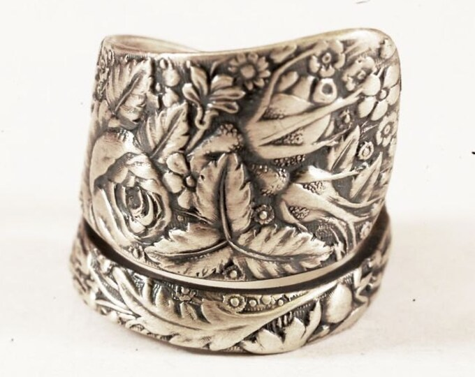 """Antique Spoon Ring Rose Garden Pattern """"1884 Arlington"""" Sterling Silver by Towle, Handmade in your Size (6780)"""