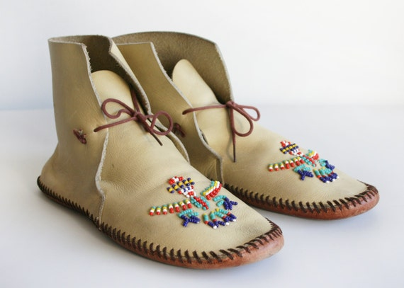 Vintage Native American Leather Moccasins With Glass Beaded