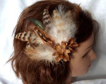 Wedding hair fascinator chinchila colored feathers hair clip brown feather hair clip set