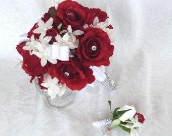 Red rose bridal bouquet in red white wedding bouquet and boutonniere package