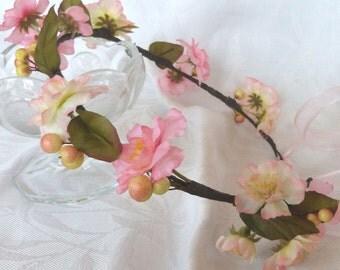Pink cherry blossom head wreath bridal head wreath wedding halo