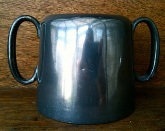 Vintage English Large Hotel Gunmetal Sugar Pot Container circa 1930-40's / English Shop
