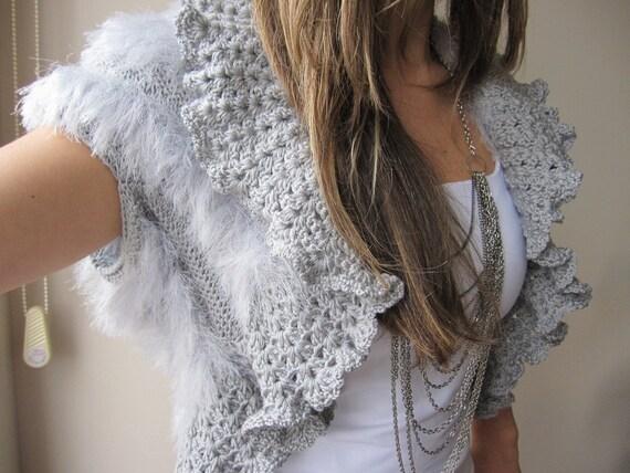 Grey bridal shrug wedding gown faux fur knit by nurdanceyiz for Fur shrug for wedding dress