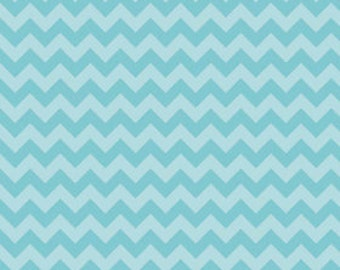 "End of Bolt 20"" of Small Chevron in Tonal Aqua by Riley Blake"