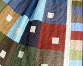 Patchwork Lap Quilt  Quilted Modern Cottage Chic with a Farm House Twist