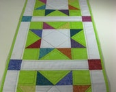 Quilted Table Runner Modern Design Bright Colors