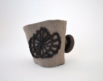 taupe brown wrist cuff - linen and cotton bracelet - black vintage trim - brown textile bracelet - mothers day gift - gift for her