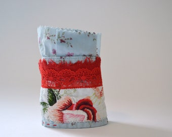 mori girl light blue and red fabric wrist cuff - floral textile wrist cuff - eco friendly bracelet - repurposed bracelet - gift for her
