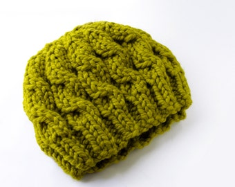 Chartreuse Wool Mix Chunky Cable Beanie Hat, Warm Bohemian Knit Hat, Earthy Outdoor Winter Beret