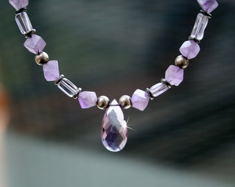 Purple Amethyst and Sterling Silver Necklace, Amethyst Pendant, Amethyst Necklace, Semi-Precious Stone Necklace, Gemstone Necklace