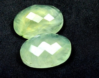 25mm Pair of faceted PREHNITE gemstone cabochon 25 x 18 x 9  approx