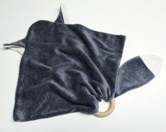 Alskar Baby OCV Gray Fox Blanket Cuddle Lovie with wood teething ring