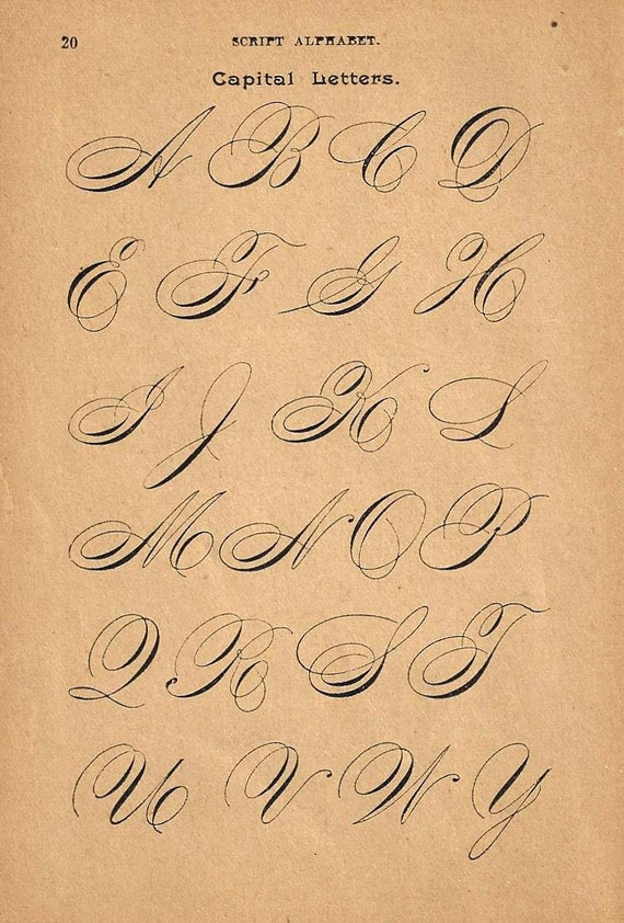 1890s calligraphy print page capital letters ornamental T in calligraphy