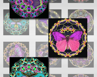 Butterfly Mandala Squares Instant Download Resin Glass Scrabble Tile Pendants 1 and 2 Inch JPEG (12-63)