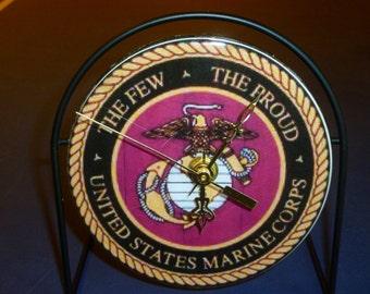 U.S. Marines Recycled CD Clock Art