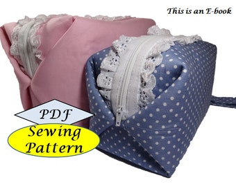 Cosmetic Toiletry Pouch Box Bag Tutorial ( sewing pattern PDF Ebook ) No.3
