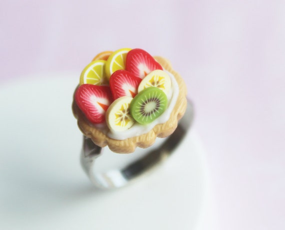 Fruit tart ring - Miniature Food Jewelry