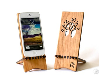 iPhone 7 Stand - also for iPhone 7 Plus, iPhone 6 (and other smartphones) - Wood iPhone Stand - Wood Cell Phone Stand