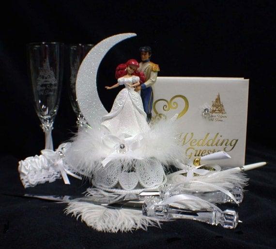 disney little mermaid wedding cake topper lot glasses knife. Black Bedroom Furniture Sets. Home Design Ideas