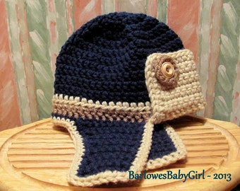 Buggs Crochet Toddler  Bomber/Aviator Hat in Navy, Cocoa Brown, and Lace w/ Wood Button Accents